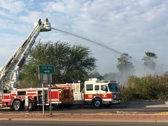 At least 50 firefighters worked to put out the fire,