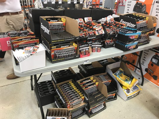 Batteries were still available at Home Depot in Naples on Tuesday, Sept. 5, 2017.