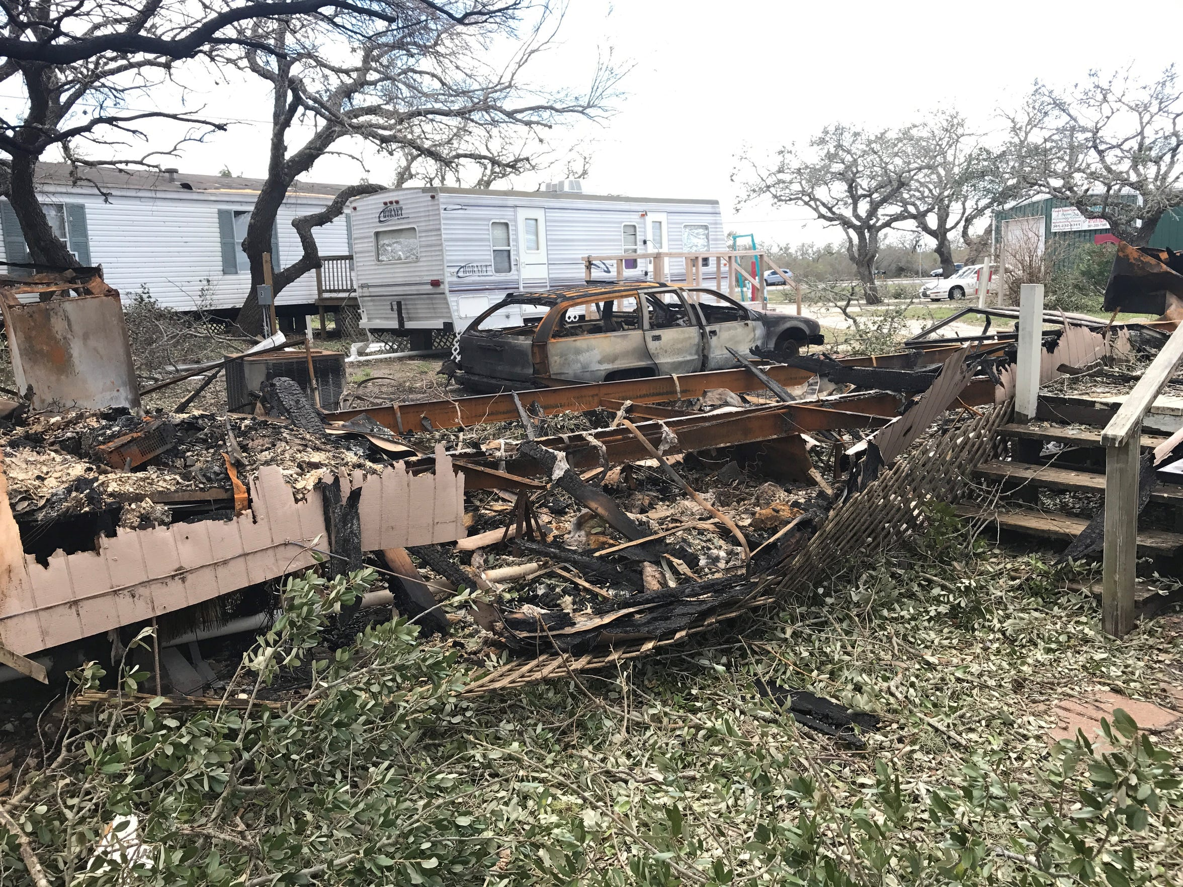 This trailer was destroyed in a fire shortly after Hurricane Harvey made landfall on Aug. 25, killing 39-year-old Arthur Adams. The structure, located along Farm-to-Market Road 3036 in Rockport, caught fire for an as-yet-unknown reason. Firefighters were unable to respond to the blaze due to the dangerous weather conditions at the time. Adams was the first confirmed fatality from Hurricane Harvey.