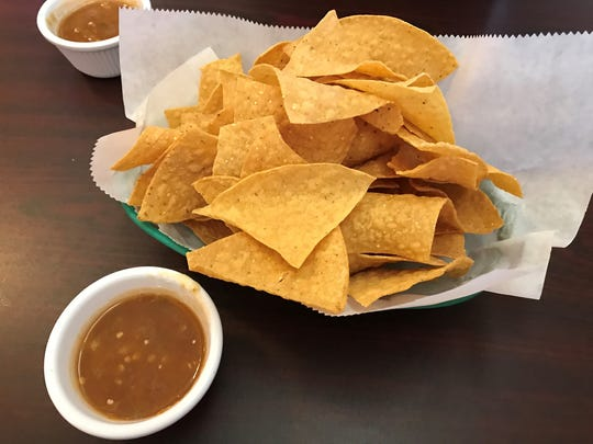 The chips at El Sancho in Iowa Park appear to be tough, but were actually easily crunched. The salsa has a nice kick at the end.