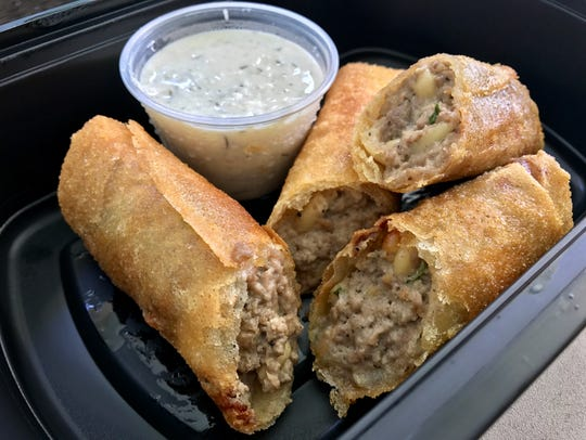 Mediterranean Egg Rolls with ground lamb and toasted