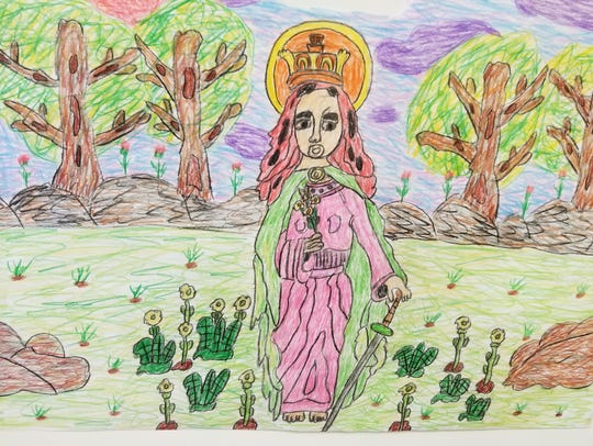 "A drawing entitled ""Saint Dyphna."""