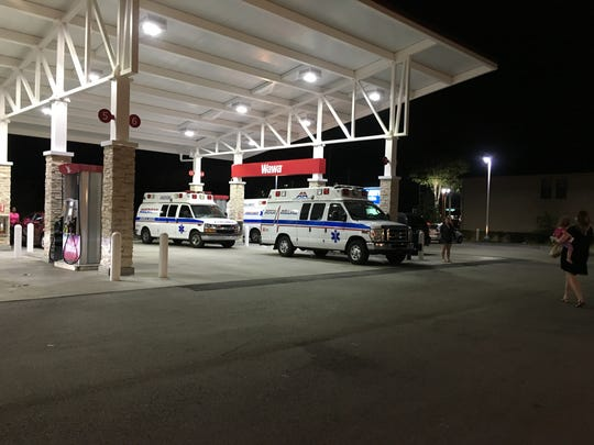 American Ambulance gassing up at Wawa in Melbourne on Pineda and transporting nursing home patients to Gainesville.