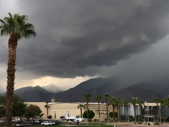 Storm clouds gather over the Palm Springs Air Museum.