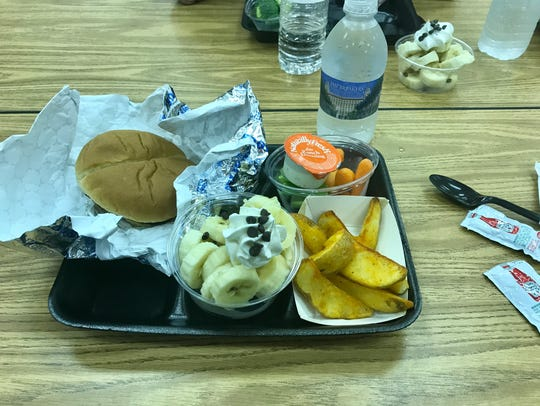 Dinner at Hidden Oaks Middle included burgers, fries,