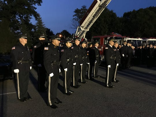 Montvale police officers at the borough's 9/11 ceremony