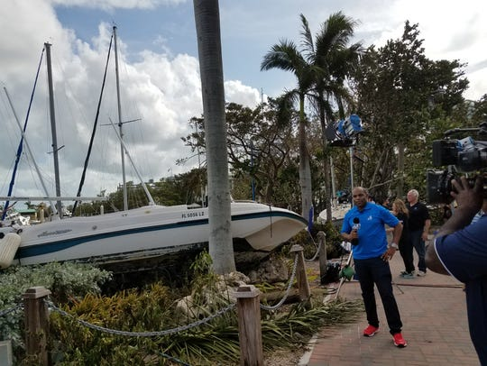 Scene from Dinner Key Marina in Miami after Hurricane