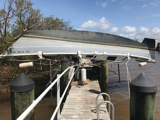 Near the Goodland public boat launch a vessel washed over the dock during Hurricane Irma Monday, Sept. 11, 2017.
