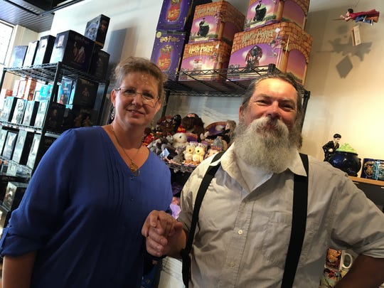 Mia and Chris Pugh of Medieval Fantasies Company Gyfte Shoppe, a new gift shop set to open on New Street across from Cranberry's.
