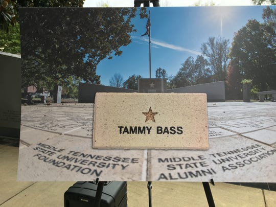 Middle Tennessee State University plans to install the first brick in honor of a gold star family at the on-campus veterans' memorial for Tammy Bass, whose son David, a Marine, died in service in 2006.