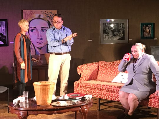 Michael, portrayed by Drew Duvall, center, disagrees with his wife, Veronica, portrayed by Nicol Maurer, left, as Annette, played by Wendy Brown, falls ill. The play opens Thursday.