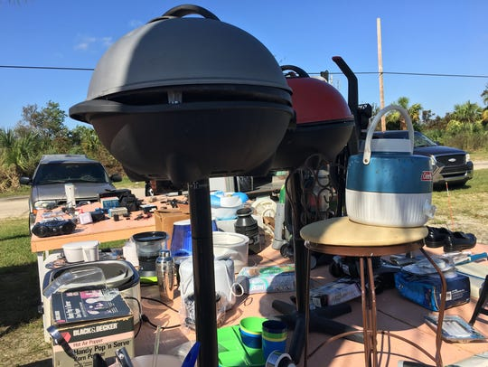 A George Foreman grill is among the wares vendors were