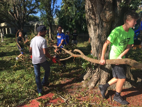 Cleanup efforts at Bishop Verot High School brought