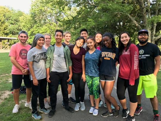 This year's Wardlaw-Hartridge peer leaders gather for a group photo during their opening retreat.