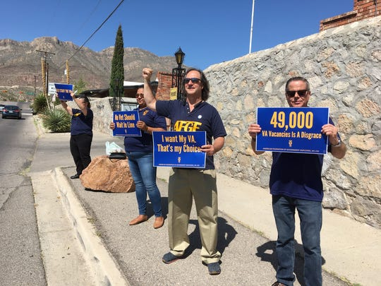 Members of the American Federation of Government Employees rallied last summer outside the El Paso VA to highlight 49,000 vacant jobs across the VA system nationwide.