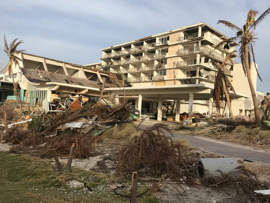 A hotel in St. Maarten damaged by Hurricane Irma.