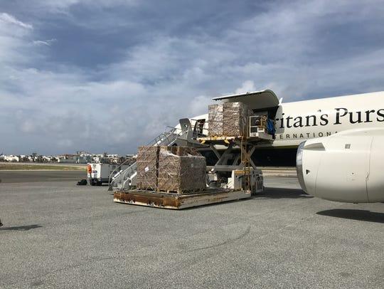 Samaritan's Purse plane unloads in St. Maarten.