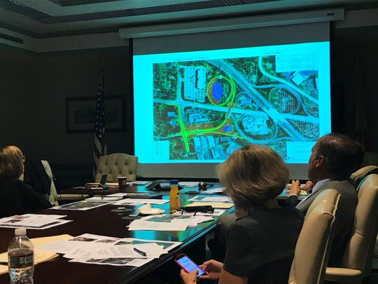 Morris County freeholders view renderings of proposed improvements to the Route 24-Columbia Turnpike-Park Avenue interchange during a work session in Morristown on Sept. 13, 2017.