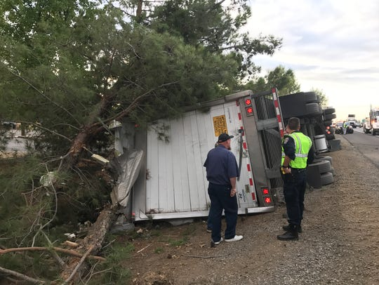 The big rig took out a tree, but did not hit any vehicles.