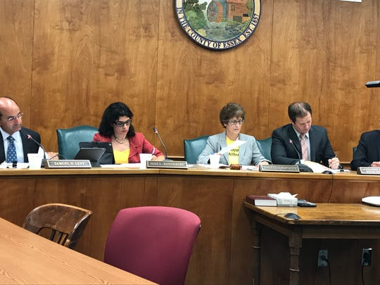 From left, Millburn Township Committee members Samuel D. Levy and Jodi L. Rosenberg, Mayor Cheryl H. Burstein, and Township Business Administrator Alexander McDonald during the Tuesday, Sept. 19, 2017 committee meeting.