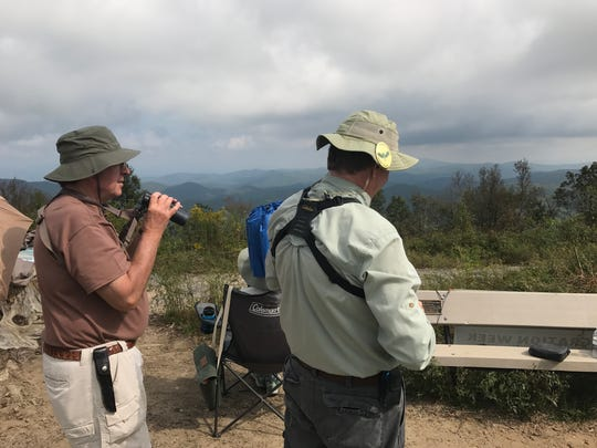 Bill Brady, left, and Ed Moorer keep watch for hawks in the sky over Sassafras Mountain.