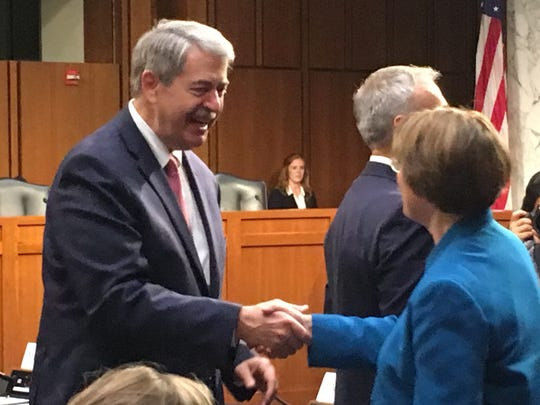 Indiana Agriculture Secretary Ted McKinney shakes hands with Sen. Amy Klobuchar, D-Minn., before his Sept. 19, 2017, confirmation hearing to be under secretary of agriculture for trade and foreign agricultural affairs at the U..S. Department of Agriculture.
