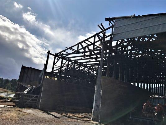 Funnel cloud damages Lebanon dairy farm