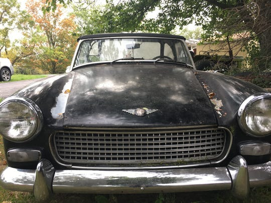 A circa 1965 Austin Healey Sprite for sale at Ron Dauzet's property in Northfield Township. He is asking $1,600.