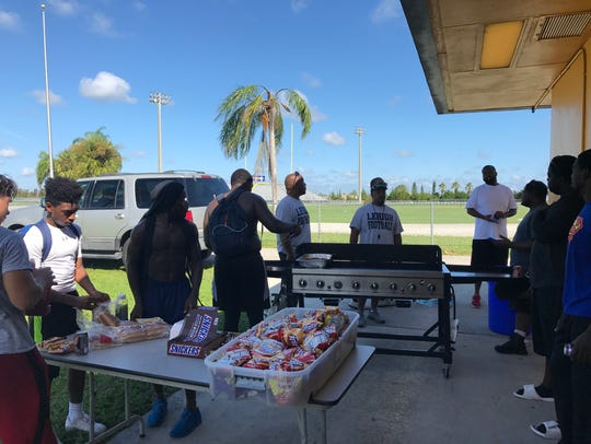 Lehigh Senior High School football players had a barbeque