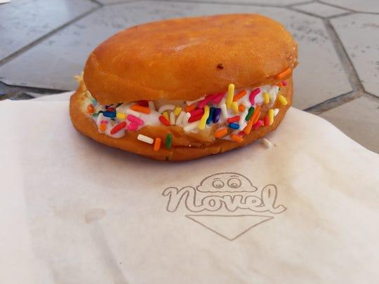 Madagascar Vanilla ice cream Dough Melt with rainbow sprinkles from Novel Ice Cream.
