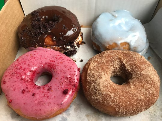 The doughnuts from Misfit Doughnuts are vegan. Aquafaba is used in place of eggs.