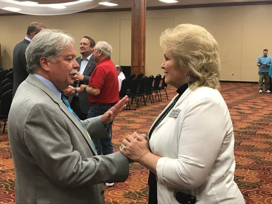 Tennessee governor candidate Kay White with Knox County Republican Party Chairman Buddy Burkhardt at the Sept. 20 Knox County Republican Party candidate forum.