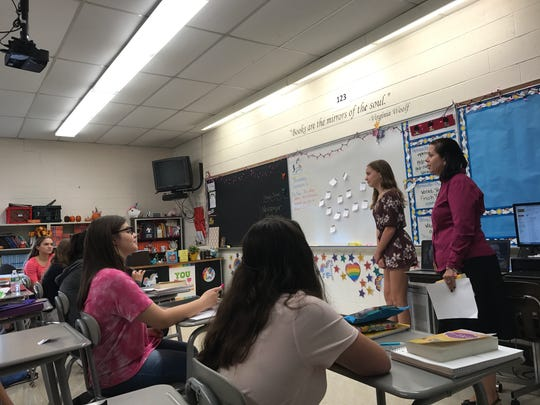Nicole Petrosillo, Passaic County's teacher of the year for 2017-18, teaches a freshman English class at West Milford High School on Sept. 21.