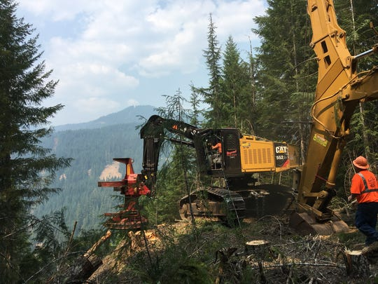Steep-slope technology at work in Oregon forests.