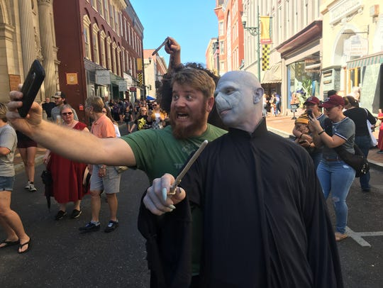 Harry Potter fans gathered in downtown Staunton on