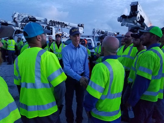 Gov. Rick Scott thanks Collier County utility workers Saturday, Sept. 23 for their work following Hurricane Irma.