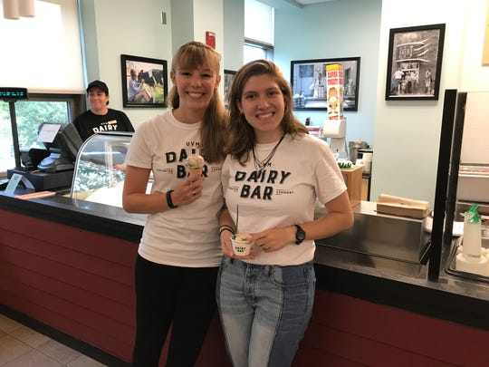 UVM CREAM students enjoying the ice cream they helped produce.