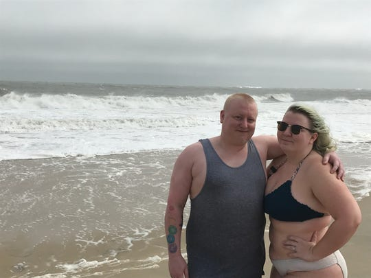 Will Hastings and Karen Gallo, of Hagerstown, had waited two days to get into the ocean and, despite the dangerous conditions, took their chance Wednesday.