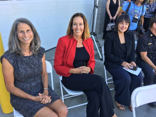 From left to right, Ventura County Supervisor Linda Parks, Assemblywoman Jacqui Irwin and Thousand Oaks Mayor Claudia Bill-de La Peña were among the officials who attended Thursday's dedication of the new fire station in Newbury Park.