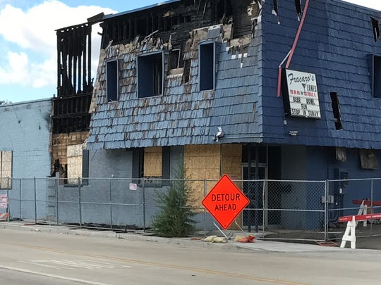 Nine months after a destructive fire, the charred Fracaro's Lanes on Whiterock Avenue is being torn down. It could not be immediately learned if the owners plan to rebuild at the site.
