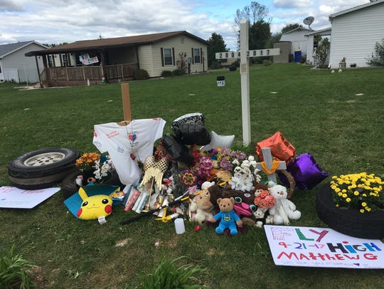 A tribute at the site of the tragic death of Matthew