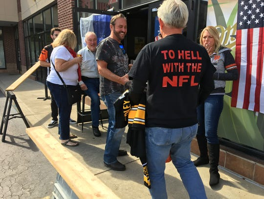 Ed Baer, of Florence, brought Steelers jerseys and