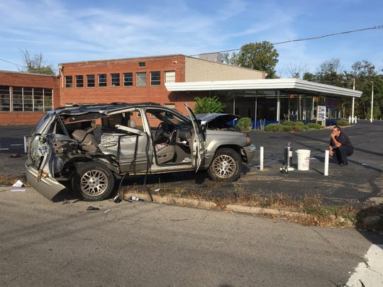 Three people were injured in a crash on Brickman Avenue on Monday, Oct. 2, 2017. Mansfield police reported it appeared a man on foot was trying to assault the driver of the vehicle while it was moving before the crash.