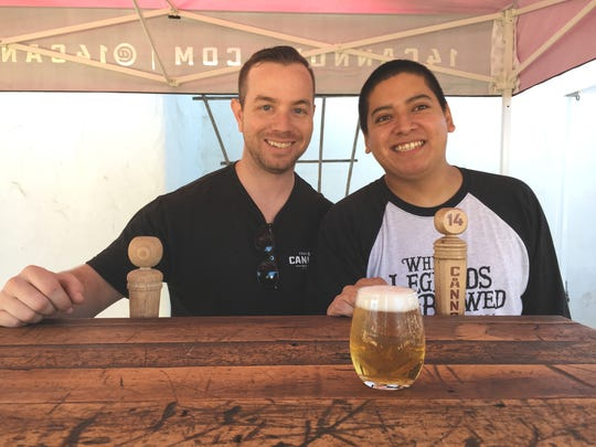 Head brewer Nic Bortolin, left, and assistant brewer Andros Abrego represent 14 Cannons Brewery & Showroom of Westlake Village during the Taste of Local event in Ventura.
