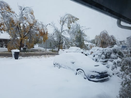 Havre was hammered by heavy snow Monday.