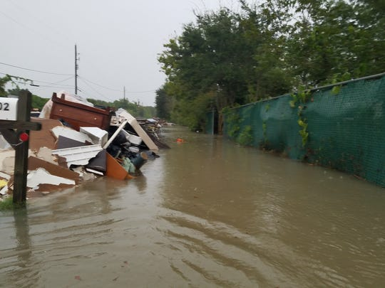 Crossroads.tv Church members saw this Rosharon, Texas, street flood with 5 inches of rainfall in three hours last month due to Hurricane Harvey.
