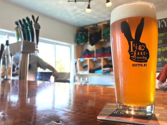 TwoCan Slam, one of the fresh beers available at Schuyler County's Lucky Hare Brewing.