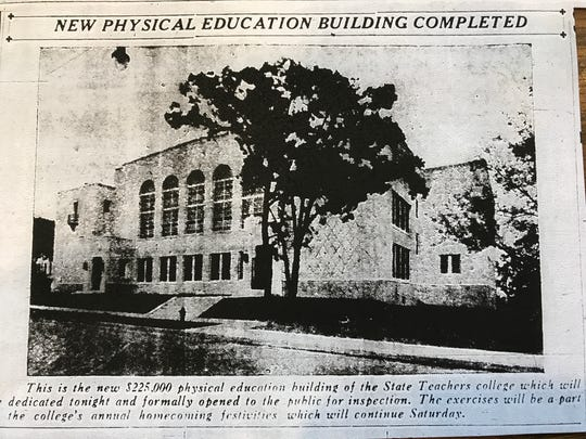 Copy of an Oct. 3, 1930 issue of the St. Cloud Daily Times at the Stearns History Museum shows the newly completed Eastman Hall on the campus of St. Cloud State University. Renovations of the hall will begin in 2017.