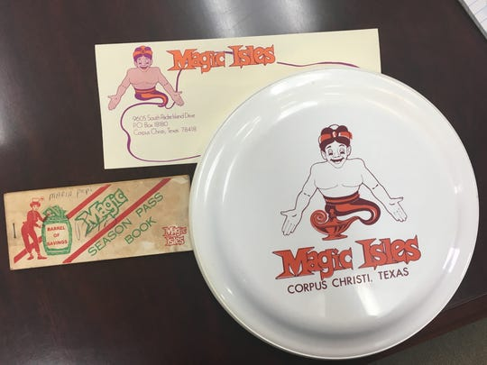 A season pass book, envelope and frisbee are some of the memorabilia the Leonard Martin family still has from Magic Isles amusement park. Magic Isles was an amusement park located at SPID and Flour Bluff Drive in Corpus Christi from 1978 to 1984.