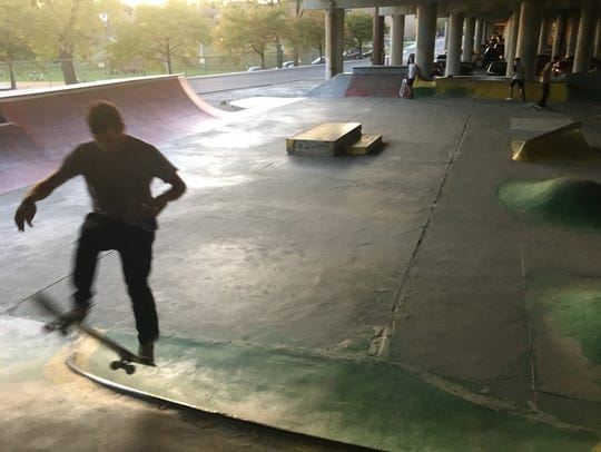 A skater goes airborne at the DIY skate park in Newport
